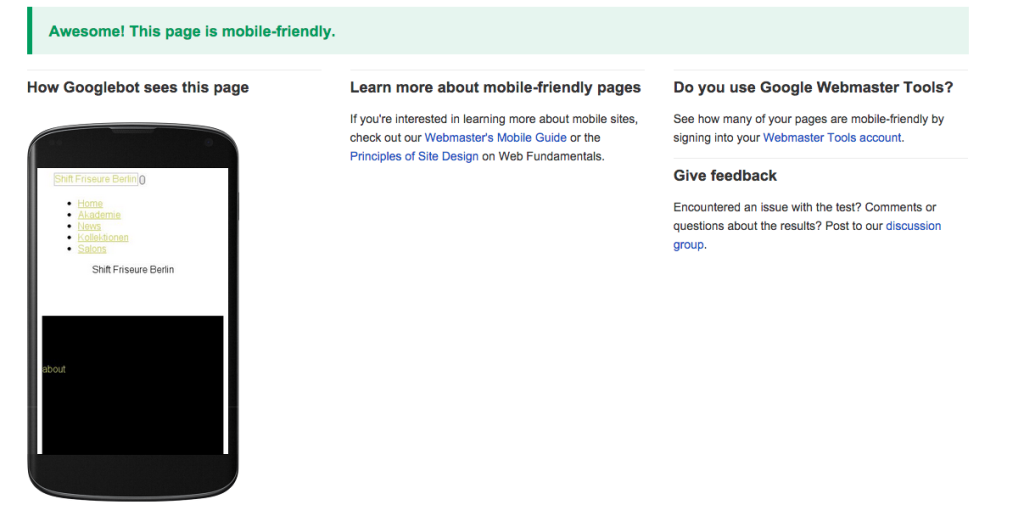 Google Webdeveloper Mobile Friendly test