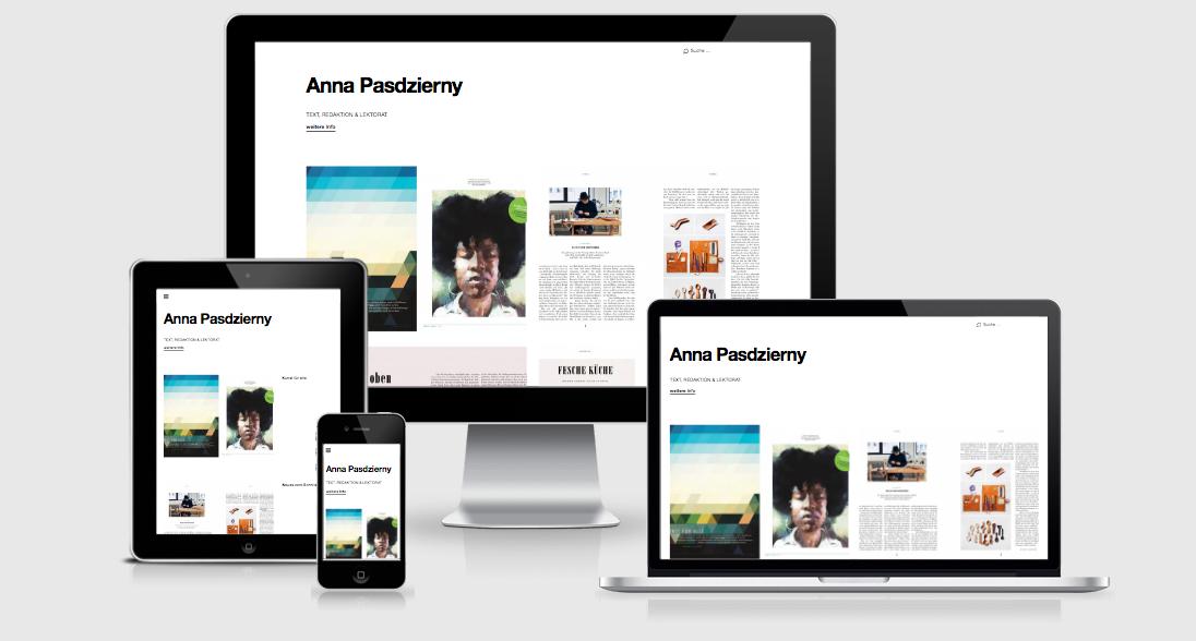 Annapasdzierny.com Webseite für Texterin