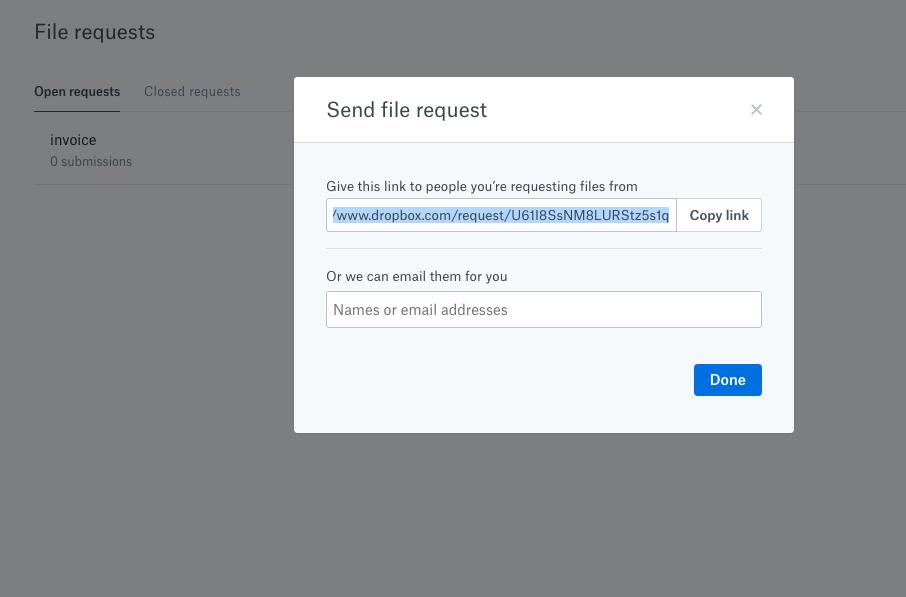 Dateianfragen Dropbox