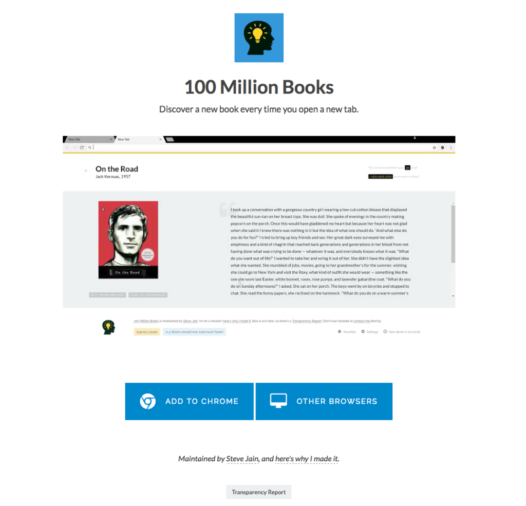 100 Million Books Chrome Extension