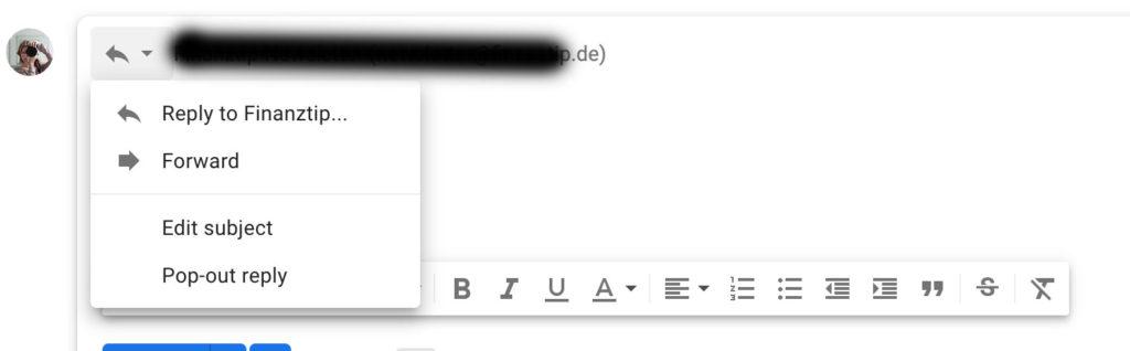 Betreffzeile in gmail ändern