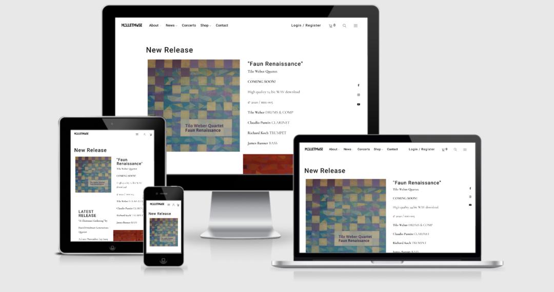 Webseite mit Webshop Musik