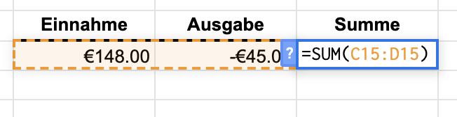 Google Tabellen Minus Funktion