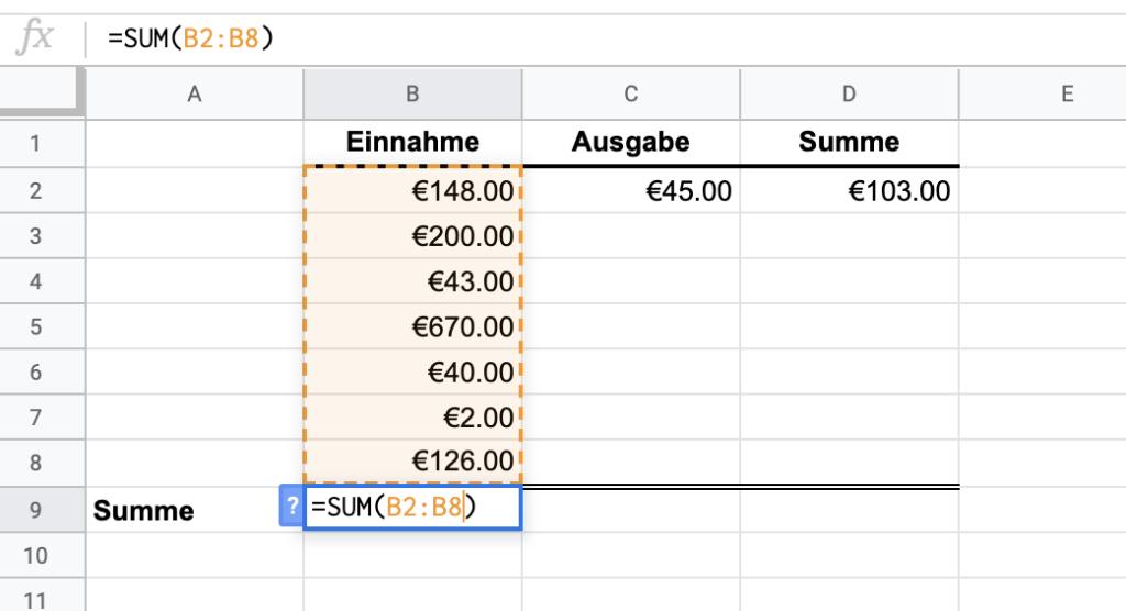 Google Tabellen Summe