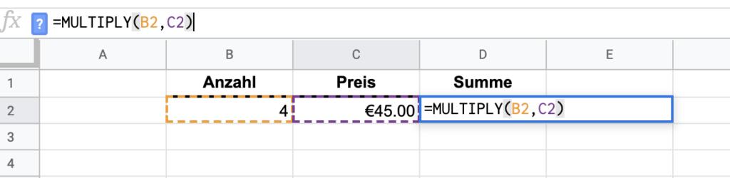 Google Tabellen Multiplizieren